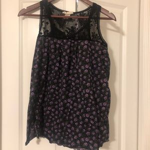 Black and purple floral tang top